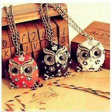 NEW Owl Crystal Flower Pendant Hollow Charm Bronze Necklace Chain Women Jewelry