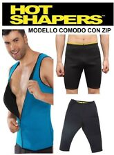 PANTALONE SNELLENTE + CANOTTA  UOMO HOT SHAPERS TRAINING DIMAGRANTE PALESTRA NEW