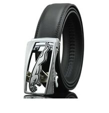Mens Silver Jaguar Buckle Automatic Leather Ratchet Fashion Buckle Belt