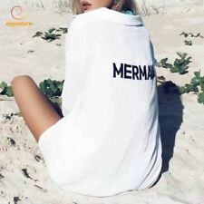 White Beach Cover Up Letter Print Bikini Cover Up Long Sleeve Beach Dress Women