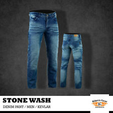 Men Stone Wash Motorcycle Trousers Jeans lined with KEVLAR® CE removable armour