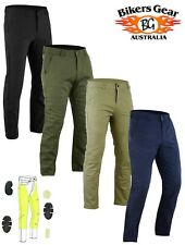 Men Chino Style Stretch Motorcycle Trousers Jeans lined with Kevlar & CE armoure