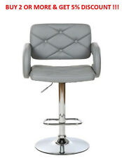GREY LEATHER STYLE HAIRDRESSER/BARBER SWIVEL CHAIR BEAUTY SALON FURNITURE