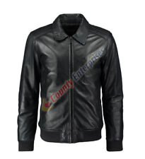 MEN FASHION MOTORBIKE BOMBER CLASSIC HARRINGTON BLACK GENUINE LEATHER JACKET