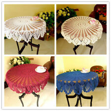Vintage Round Lace Tablecloth Handmade Crochet Cotton Table Cloth Cover 90cm