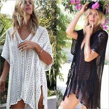 Sexy Crochet beach V Neck Cover Up Split Swimwear Summer Outings Swimsuit See-th