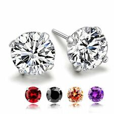 4 Prong Sterling Silver Men's Women's Unisex Round CZ Stud Earrings 5 colors Set