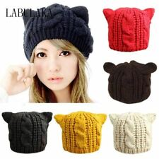Lovely Cat Ears Beanie Women Hat Warm Solid Color Hip-hop Cap Lady Girls Cute Wi