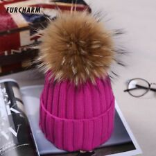Fashion Women's Winter Knitted Fur Beanie Hats With 16cm Real Raccoon Fur Pompom
