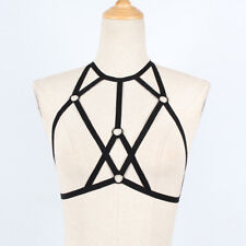 Sexy Goth Lingerie Elastic Harness Cage Bra Cupless Bandage Body Chain Belt 047
