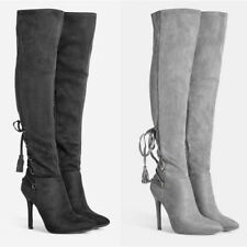 WOMENS CASUAL HIGH STILETTO HEEL OVER KNEE THIGH STRETCH LACE BOOTS NEW SIZE 2-7