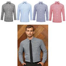 Mens Check Shirt Microcheck Gingham Long Sleeve Premier Shirt PR220