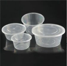 Round Food Containers Plastic Clear Storage Tubs & Lids Deli Pots Food Takeaway