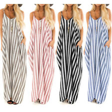 WOMEN BOHO STRIPED STRAPPY SLEEVELESS LONG LOOSE SUMMER BEACH MAXI DRESS NICE