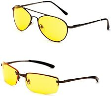 Night Driving Sunglasses in 2 Styles Rectangle or Pilot 100% UV 400 - Free Pouch