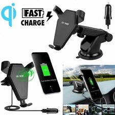 Qi Wireless Car Fast Charger Charging Mount Holder for iPhone8/X Samsung S8/9 QC