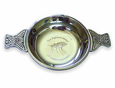 100mm Scottish Pewter Highland Midge Whisky Quaich Celtic Handles Personalised