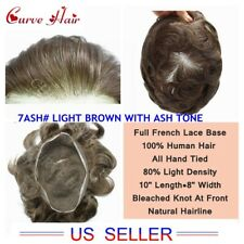 Full French Lace Mens Toupee Hair Replacement System All Lace Mens Hairpieces