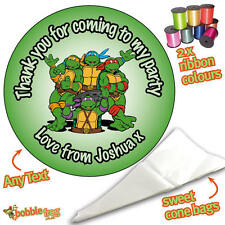 24 Personalised Ninja Turtles DIY Sweet Cone Ribbon Party Bags Kit Stickers 301