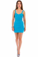 Womens Ladies Sleeveless Sweetheart Neckline Above-Knee Mini Striped Party Dress
