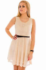 Womens Ladies Scoop Neck Sleeveless Above-Knee A-Line Belted Mini Pattern Dress