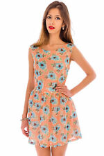 Womens Ladies Boat Neck Sleeveless Above-Knee A-Line Party Mini Floral Dress