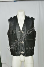 New Men's Genuine Black Leather Claps Closure & Buckles on Pockets and Vest LV3