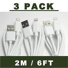 3-PACK Lightning USB Charging Cables Cord 2M / 6FT For iPhone 6 7 8 X Plus