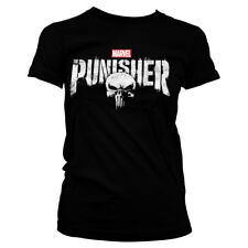 Officially Licensed Marvel's The Punisher Distressed Logo Women's T-Shirt S-XXL