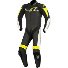 Leather suit alpinestars challenger v2 1pc black / white / yellow fluo