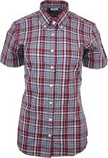 Relco Ladies Burgundy Tartan Check Short Sleeve Button Down Collar Shirt