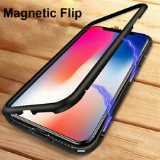 Magnetic Adsorption Metal Bumper Tempered Glass Back Case For iPhone X/7 8 Plus