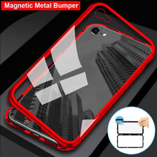 FOR iPhone 7 8 6 Plus Magnetic Metal Frame Bumper Case Tempered Glass Back Cover
