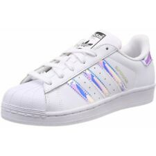 adidas Originals Superstar J Blanc/Irisé En Cuir Jeunesse Formateurs Chaussures