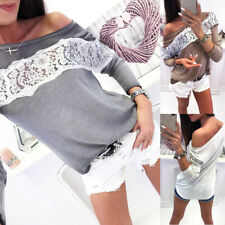 Fashion Sexy Off Shoulder Women Casual Long Sleeve Lace Shirt Blouse Tee Tops