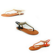 WOMENS SUMMER BEACH STRAPPY FLAT FLIP FLOPS SANDALS LADIES SHOES SIZE 3-8