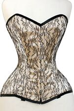 Cream Satin Black Lace Overlay Real Steel Bones Lace up Full Bust Corset 2XS~7XL