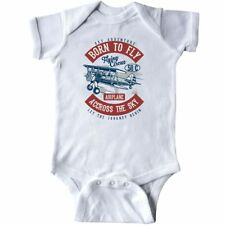 Inktastic Born To Fly Infant Bodysuit Airplane Pilot Vintage Across The Sky Baby