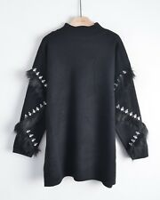 faux fur and crystal Stone diamond embellished Sleeves long tunic knitted jumper