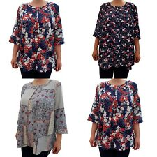 Wolfairy Womens Plus Size Top Blouse Floral Lagenlook Loose Baggy
