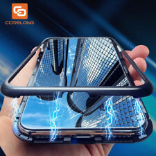 Magnetic Flip Case for iPhone 7 8 Plus Clear Tempered Glass+Metal Frame Magnet