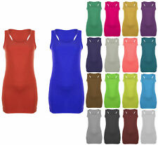 Womens Ladies Bodycon Long Racer Back Vest Tops Muscle Casual Gym UK Size 8 - 26