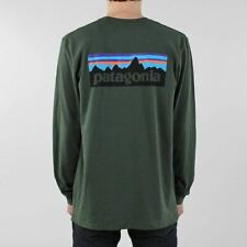 Patagonia Men's New P-6 Logo Long Sleeve Responsibili-Tee T-shirt Nomad Green