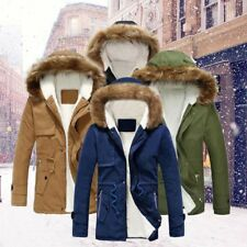 Winter Mens Jackets Coat Hooded Fur Collar Thicken Outwear Casual Warm Parka New