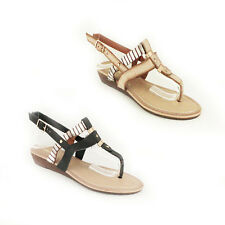 WOMENS STRAPPY FLIP FLOPS SLINGBACK WEDGE HEEL SHOES LADIES SANDALS NEW SIZE 3-8