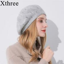 Winter Women Hat Cashmere Berets Rhinestone Knitted Girl Fashion Lady Beret Caps
