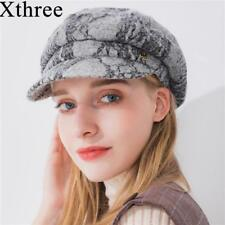 Solid Winter Women Hat Lace Cotton Octagonal Hat Visor Newsboys Autumn Wool Caps