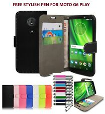 For Motorola Moto G6 Play 2018 Leather Wallet Flip Book Case Cover Card Stand