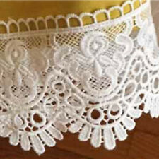 White Stretch Lace Trimming 5mts 14cm Wide Leaf Design
