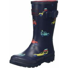 Joules Printed Welly Scout and About Blu Marino Gomma Junior Wellingtons Stivali